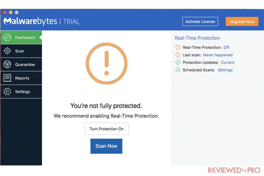 Malwarebytes for Mac Protected