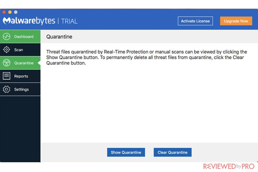 Malwarebytes for Mac quarantine