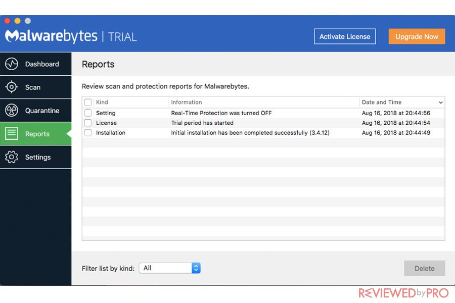 Malwarebytes for Mac Security Reports