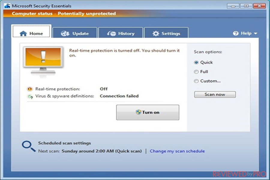 microsoft security essentials potentially unprotected