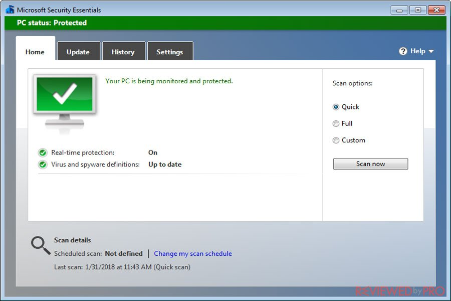 microsoft security essentials protected