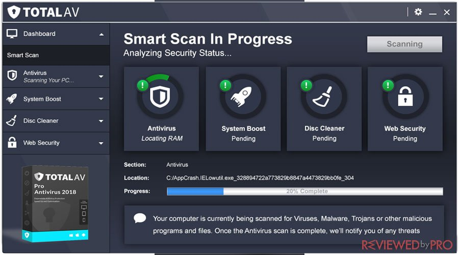 Total AV smart Scan progress