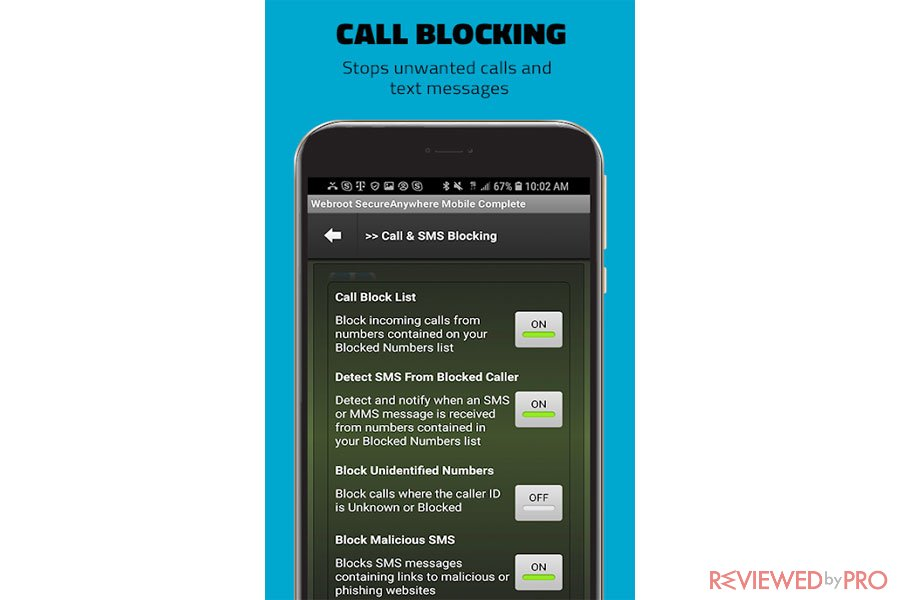 Webroot Mobile Security Call Blocking