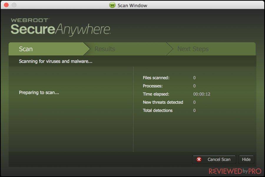 Webroot ANtivirus for Mac scan window