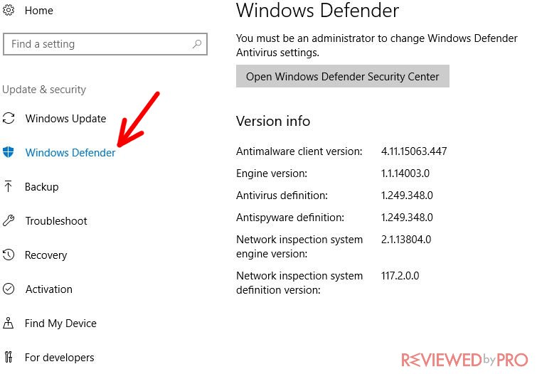 Windows Defender section