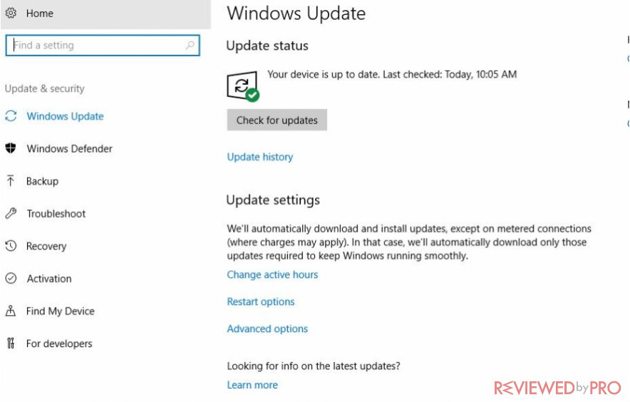 Windows Defender update status