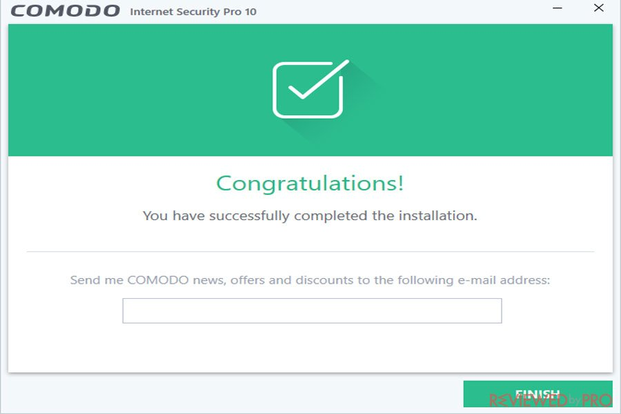 comodo installation completed