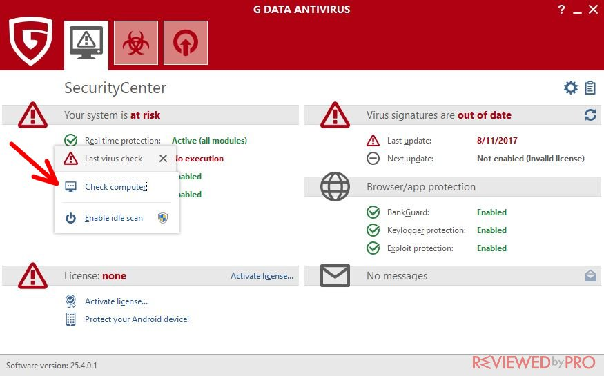 G DATA Antivirus check computer scan