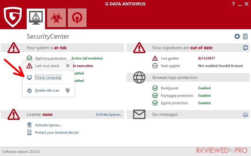 G DATA Antivirus check computer scan