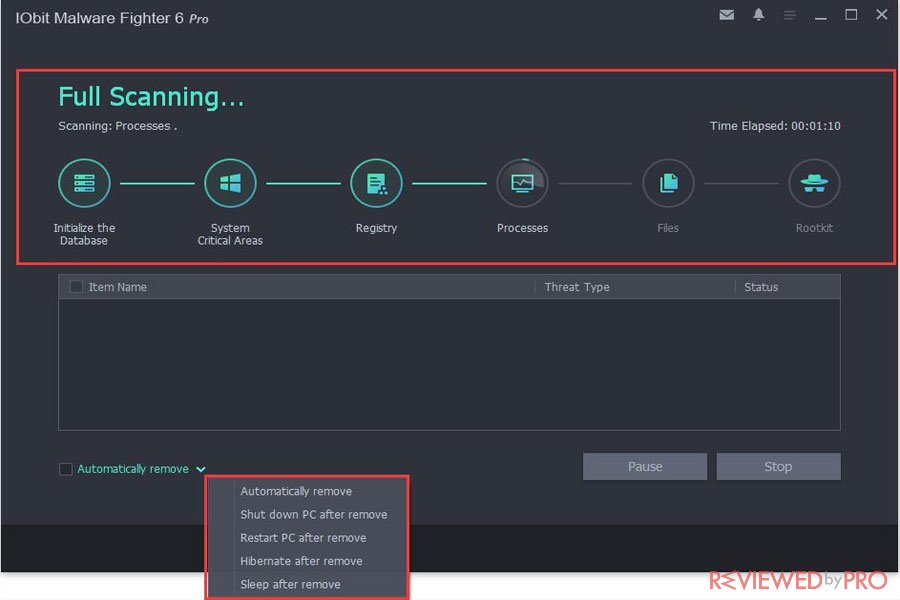 IOBit Malware Fighter 6 Pro Scanning process