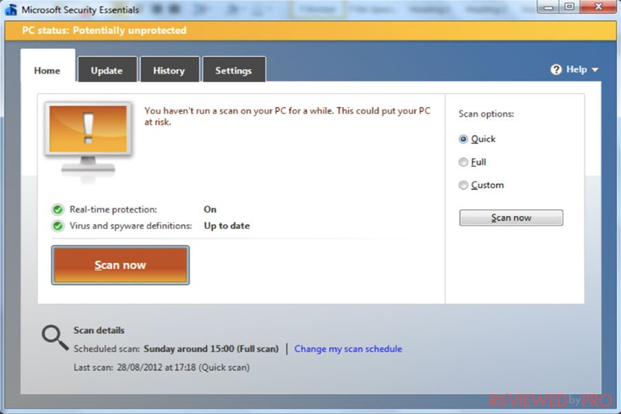 Microsoft Security Essentials dashboard