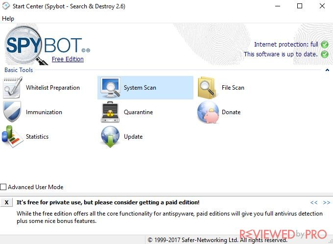 SpyBot main window
