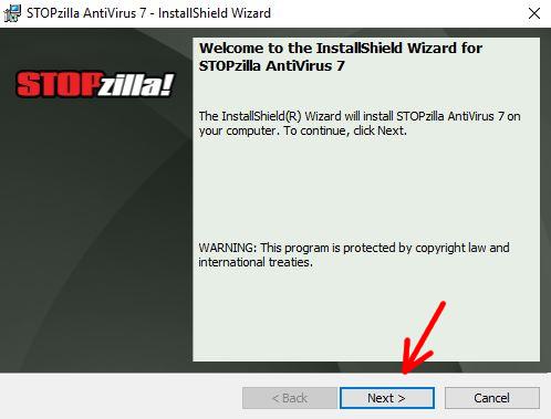 STOPzilla AntiVirus installation wizard