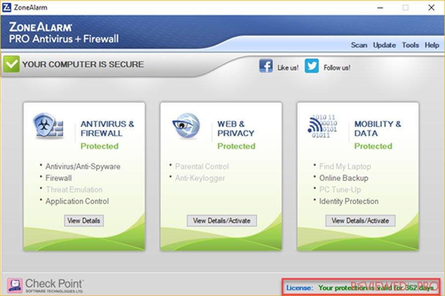 ZoneAlarm antivirus and firewall dashboard